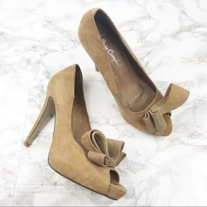 Jeffrey Campbell Sculpted Bow Tan Suede Heels